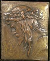 V154 Franz Stiasny bécsi bronz Jézus portré 1930