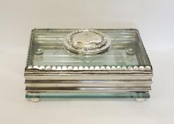 Különleges Judaika doboz, ezüst/üveg.