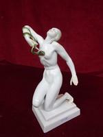Herendi porcelán térdelő akt kígyóval, színes, 24 cm magas.