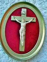 9. Antik, ELEFÁNTCSONT Jézus Krisztus, kereszt, Korpusz (7.5 cm),  16 cm-es ovális fa keretben!