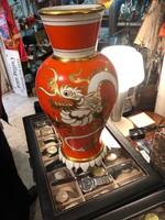 Gyönyörű kinai váza mult század vége, 38 cm-es, ajándéknak, aranyozott.