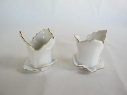 Érdekes Aquincumi porcelán gyertyatartó pár