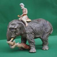 Nagyméretű Poema Artistic biszkvit porcelán figura indiai ázsiai elefánt turbános elefánthajcsárral