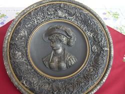 """Hatalmas méretű Antik  Johann Maresch fali tányér 42 cm, """" Hölgy Vadászkalappal """""""