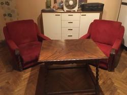 Koloniál Asztal és Két Fotel