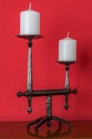 Art deco iparművészeti antik asztali kovácsoltvas gyertyatartó 31 cm