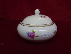 Hollóházi porcelán cukortartó, rózsaszín virággal, az ötvenes évekből.
