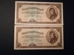 1946-os 100 Millió Pengő SORSZÁMKÖVETŐ PÁR