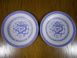 Kínai lapostányér porcelán rizsszemes sárkány mintával kék fehér 23 cm 2 db