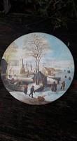Jelenetes porcelán falitányér