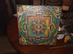 Tibeti vallásos kép, festmeny, mandala