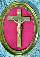 11. Antik, ELEFÁNTCSONT Jézus Krisztus, kereszt, Korpusz (8.2 cm),  21.5 cm-es ovális fa keretben!