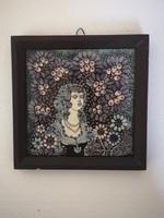 Vén Edit Nő virágokkal falikép tűzzománc