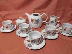 Kahla pipacsos teás készlet, csésze, kiöntő