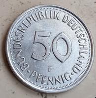 NSZK Német Verdefényes 50 Pfennig 1977 F.