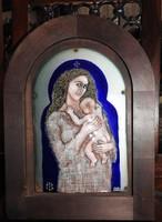 Cyránszki Mária _ Anya gyermekkel - tűzzománc kép