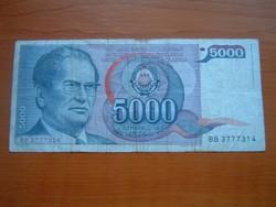 JUGOSZLÁVIA 5000 DINÁR 1985 J.B.TITO BB  #