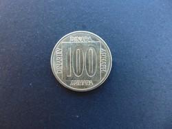 100 dinár 1989 Jugoszlávia
