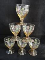 Gyönyörű, üveg, kézzel festett virágos talpas pohár szett, hibátlan állapotban