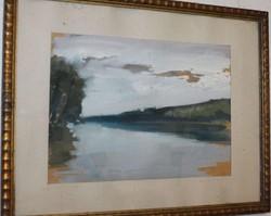 Bényi Árpád festmény 30X40 cm + paszpartu + keret