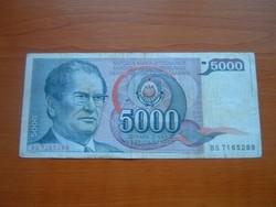 JUGOSZLÁVIA 5000 DINÁR 1985 J.B.TITO BS  #