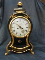 Du Chateau, nagyméretű francia asztali óra, kandalló óra.Royal zöld, arany színben.,Működik