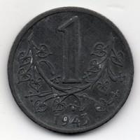 Cseh és Morvaország német megszállás 1 cseh Korona, 1943, cink