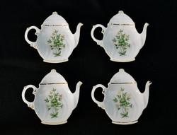 Hollóházi Erika porcelán teafilter tartók - 4 darabos filtertartó szett