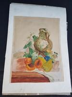 20x30 centi környékén, virágcsendélet, akvarell, Varga Bianka, papíron