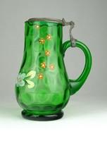 0Y500 Antik fújtüveg festett zöld korsó 14.5 cm