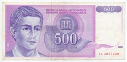 Jugoszlávia 500 jugoszláv Dínár, 1992