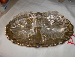 Két részes kagyló alakú kínálótál, asztalközép  üvegből