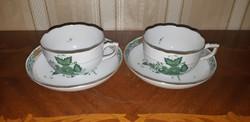 Herendi antik zöld Apponyi mintás teáscsésze pár