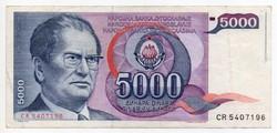 Jugoszlávia 5000 jugoszláv Dínár, 1985