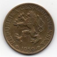 Csehszlovákia 1 csehszlovák Korona, 1959, keresztes címerrel