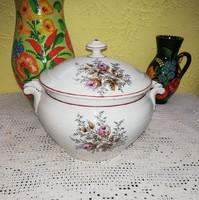 Kisebb méretű  Gyönyörű Vadrózsás  porcelán levesestál, tál,  komatál  , Nosztalgia, régiség.