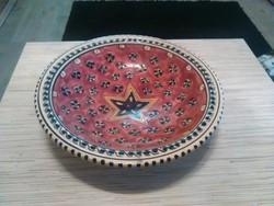 Nagyméretű kerámia fali dísz tányér kézzel festett