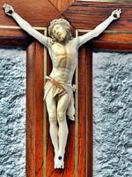 12. Antik, ELEFÁNTCSONT Jézus Krisztus (12.7 cm), 36 cm feszület, impozáns, kereszt, korpusz