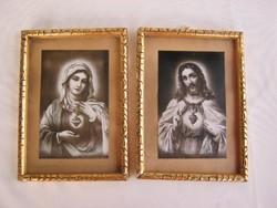 Régi szentkép pár Jézus és Szűz Mária