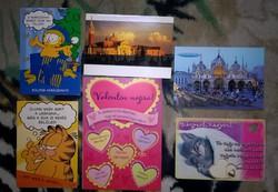 Postatiszta Valentinnapi és karácsonyi képeslapok ,6 db egyben .