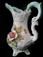 Capodimonte rózsás LCS porcelán kiöntő kancsó