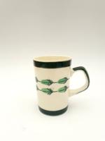 Gránit Kispest tollas bögre - toll levél dekoros zöld bögre kávés teás csésze