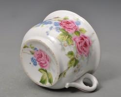 Antik komabögre- Rózsával és nefelejcsel - alja is festett -vastagfalu, masszív darab.