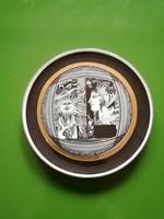 Hollóházi Szász Endre porcelán tányér,falitányér 16 cm