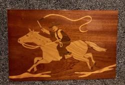 Régi, retro lovaskép fa furnér lemezből