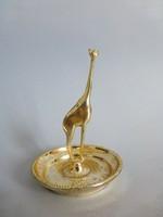 Zsiráfos ezüstözött ékszertartó,gyűrűtartó