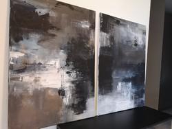 2 darab absztrakt eredeti festmény 2x50x70 cm, akril vászonkép