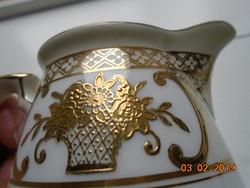 NORITAKE luxus japán porcelán aranybrokát virágkosár mintával ,újszerű ,tejszínes kiöntő