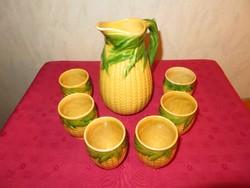 Népies, kukorica mintás kerámia italos, boros készlet, kancsó 6 pohárral