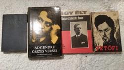 Petőfi, Ady Endre összes versei,Így élt Bajcsy-Zsilinszky Endre,Radnóti Miklós könyv eladó